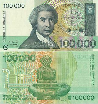Picture of Croatia 100,000 Dinara 1993 P27 Unc