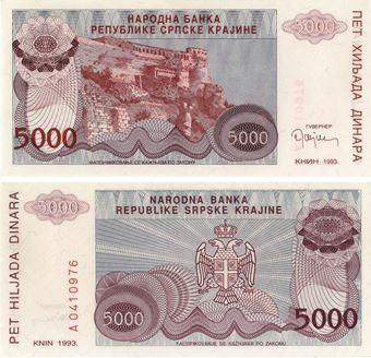 Picture of Croatia/Knin 5000 dinara PR20 Unc