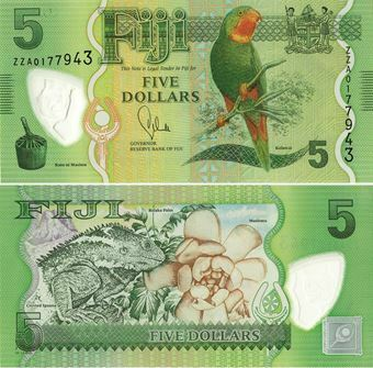 Picture of Fiji 5 Dollars 2012 P115a Plastic  (No Queen) Unc