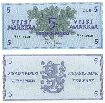 Picture of Finland 5 markaa 1963 P99a Unc