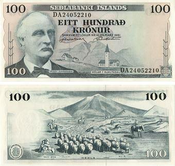 Picture of Iceland 100 kronur 1961 P44 Unc