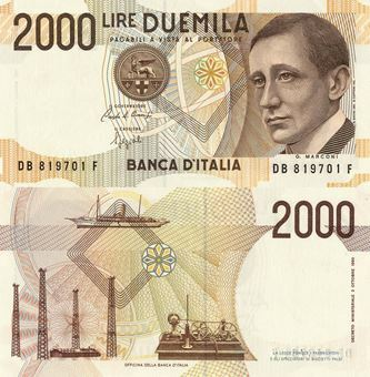 Picture of Italy, 2000 Lire P115 Marconi Unc