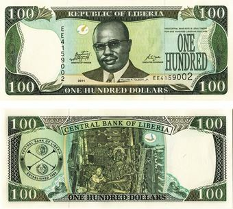 Picture of Liberia 100 Dollars 2011 P30 Unc