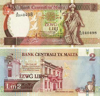 Picture of Malta 2 liri nd(1994) P45 Unc