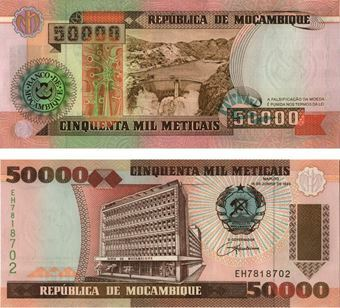 Picture of Mozambique 50,000 meticais (1993) P138 Unc