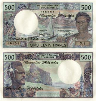 Picture of New Hebrides 500 Francs nd P19 Unc