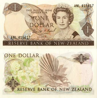 Picture of New Zealand 1 Dollar nd (1989-92) P169c Brash Unc