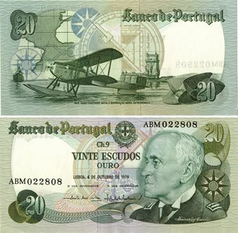 Picture of Portugal Aviator 20 Escudos 1978 P176 Unc
