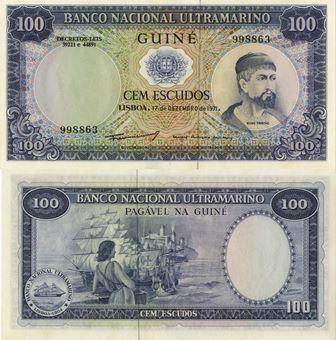 Picture of Portuguese Guinea 100 Escudos 1971 P45 Unc