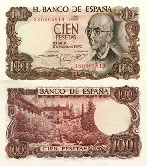 Picture of Spain 100 Pesetas 1970 P152 Unc