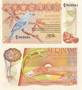 Picture of Surinam 2  1/2 Gulden 1985 Blue Bird P119 Unc
