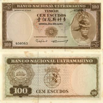 Picture of Timor 100 Escudos 1963 P28 Unc Some Stains