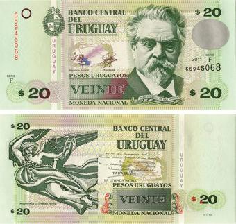Picture of Uruguay 20 Pesos Uruguayos 2011 P86b Unc
