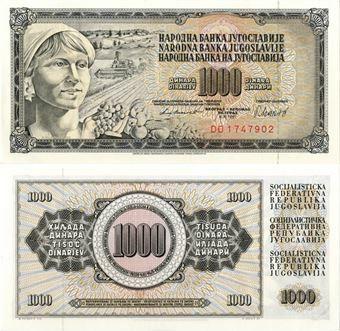 Picture of Yugoslavia 1000 Dinara 1981 P92 Unc