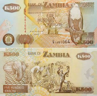 Picture of Zambia 500 kwacha nd P39 Unc