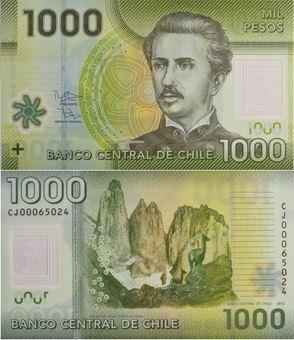 Picture of Chile 1000 Pesos 2010-11 P161 Plastic Unc