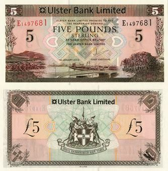 Picture of Northern Ireland, Ulster Bank £5 2013 P340 Unc
