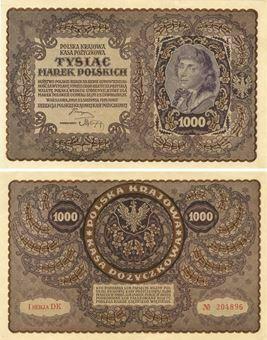 Picture of Poland 1000 Marek 1919 P29  EF/GEF