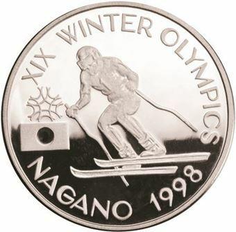 Picture of Romania, Rare Nagano Skiing Olympics Piedfort Aluminium
