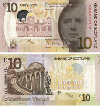Picture of Bank Scotland £10 2016 P-New Polymer Plastic Unc