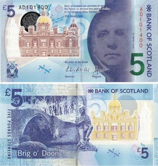 Picture of Bank Scotland £5 2016 P-New Polymer Plastic Unc