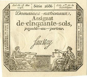 Picture of France, Assignat 50 sols 1793 PA70 GEF Unc