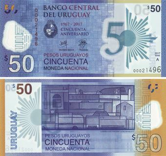 Picture of Uruguay 50 Pesos 2017 Commem Polymer P100 Unc