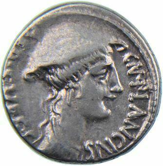 Picture of Republic. Cn. Plancius. 55 B.C.. AR. Denarius