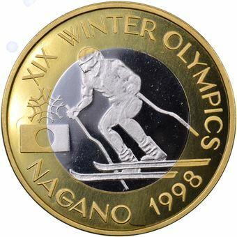 Picture of Romania, Rare Nagano Skiing Olympics Piedfort Bi-metallic