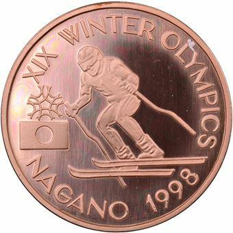 Picture of Romania, Rare Nagano Skiing Olympics Piedfort Copper
