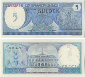 Picture of Surinam 5 Gulden 1982 P125 Unc