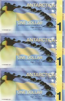 Picture of Antarctica 1 Dollar 2011 Plastic Uncut Sheet 3 Unc