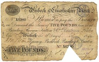 Picture of Wisbech & Lincolnshire Bank £5 1890's (Outing 8720)  Fine
