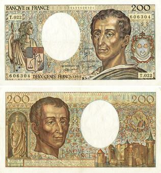 Picture of France, 200 Francs 1981-94 P155  Montesquieu  GF-VF