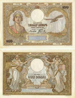 Picture of Yugoslavia 1000 Dinara 1931 P29  AU//Unc