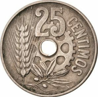Picture of Spain, Pair of Spanish Civil War (25 Centavos) Coins