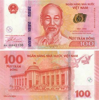 Picture of Vietnam 100 Dong 2016 65th Anniversary Bank P125 Unc