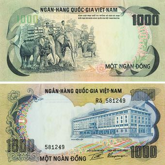 Picture of South Vietnam 1000 Dong Elephants P34 Unc