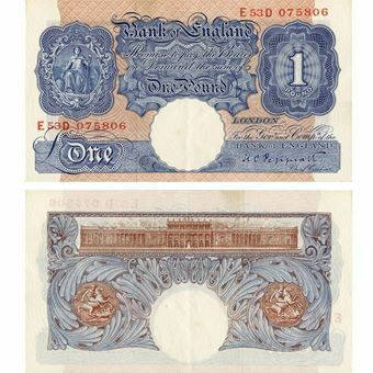 Picture of Blue/Pink Wartime £1 (B249), EXTREMELY FINE