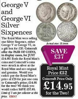 Picture of George V and George VI Pair of Silver Sixpences.