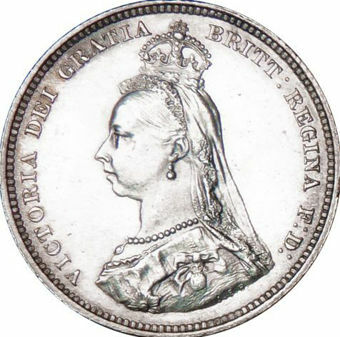 Picture of Victoria, Shilling 1887 About Uncirculated
