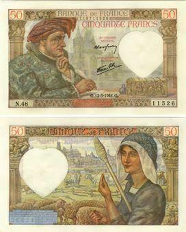 Picture of France, 50 Francs 1941 P93 Crisp  AU/Unc