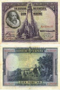 Picture of Spain, 100 Pesetas 1928 P76 Don Quixote Fine