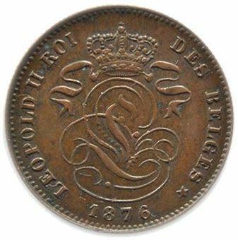 Picture of Belgium, 2 centimes, 1876. lustrous GEF (KM.35.1)