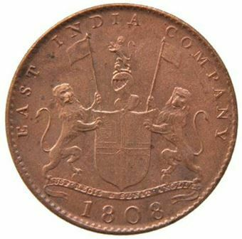 Picture of India, East India Company Treasure, Ten Cash Coin, EF