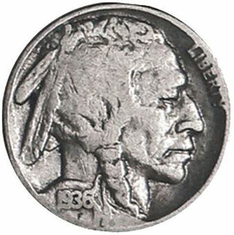 Picture of United States of America, Buffalo Nickel, 1913 - 1938. In circulated condition.
