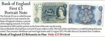 Picture of Bank of England First £5 Portrait Note
