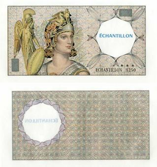 Picture of France, French Test Note with ROUND Watermark