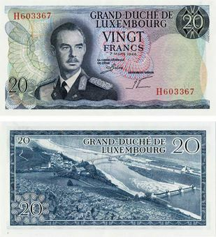 Picture of Luxembourg, 20 Francs 1966 P54 Unc