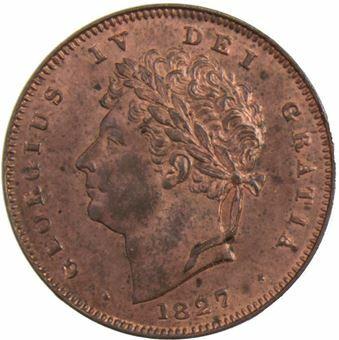 George IV_Halfarthing_1827_obv